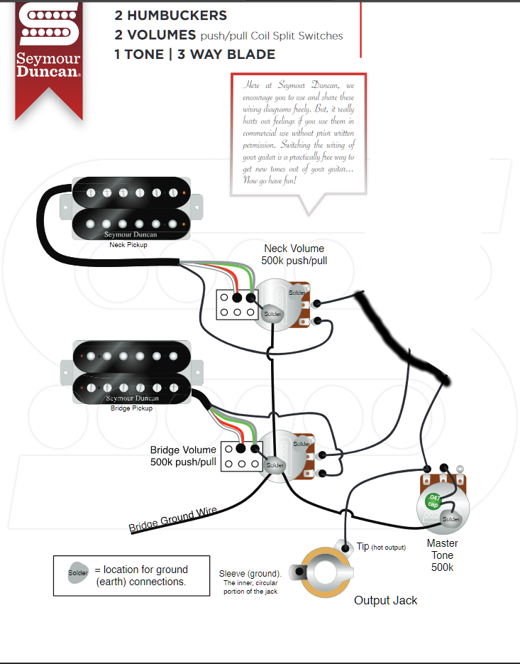 Guitar Wiring Diagram 2 Humbucker 1 Volume 1 Tone from www.talkbass.com