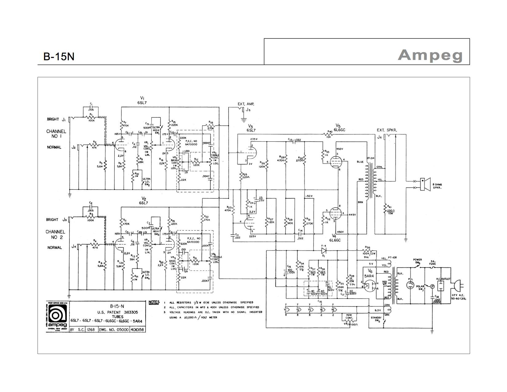 technical amplifier talkbass com schematic for 1968 b 15n amp fixed bias