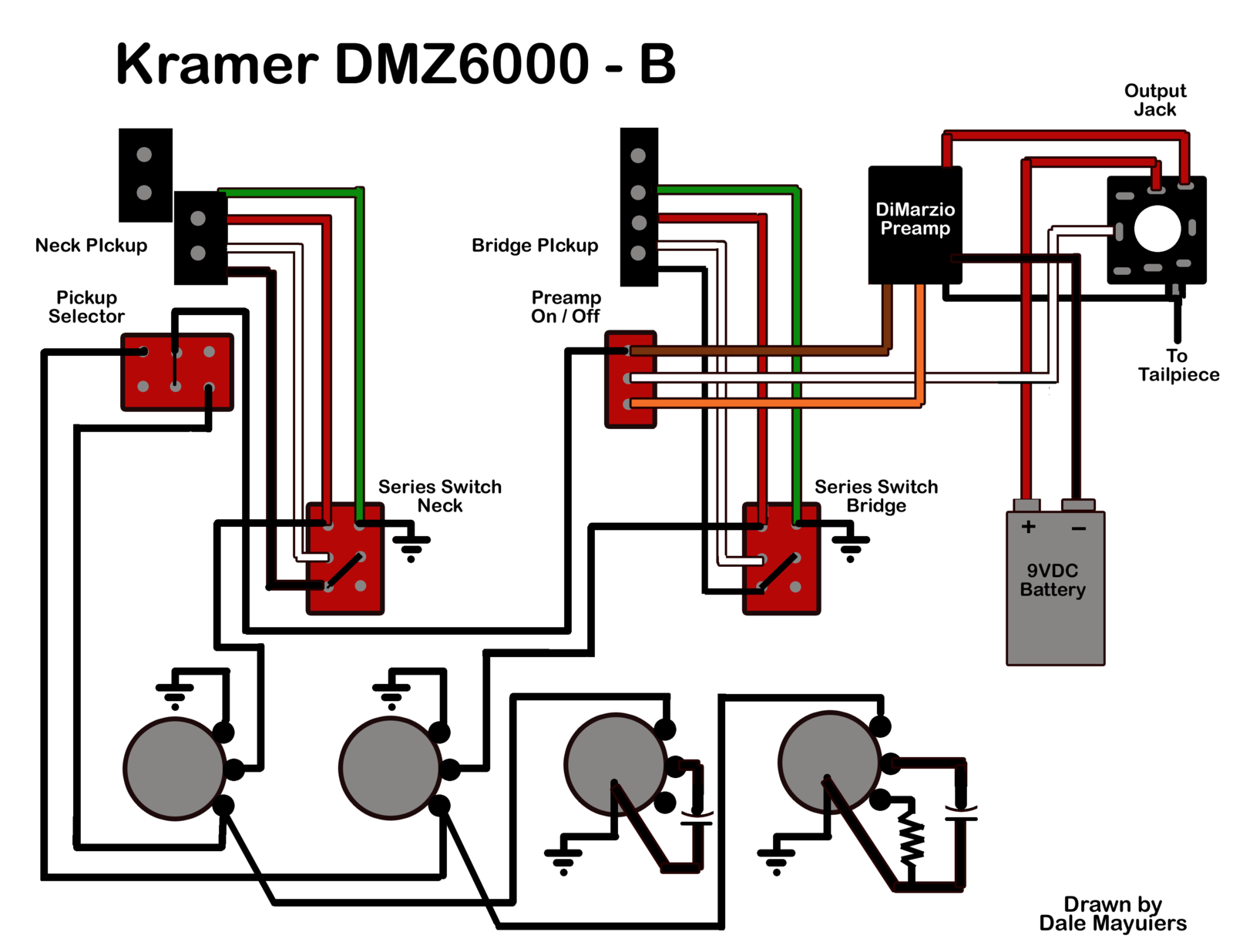 kramer dmz6000 wiring diagram with dimarzio preamp talkbass com Power Supply Wiring Diagrams