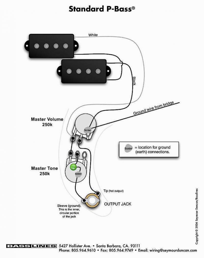 Single Coil vs. Split Coil P bass wiring. Extra ground between volume and  tone pot? | TalkBass.com | Bass Humbucker Wiring Diagram |  | TalkBass.com