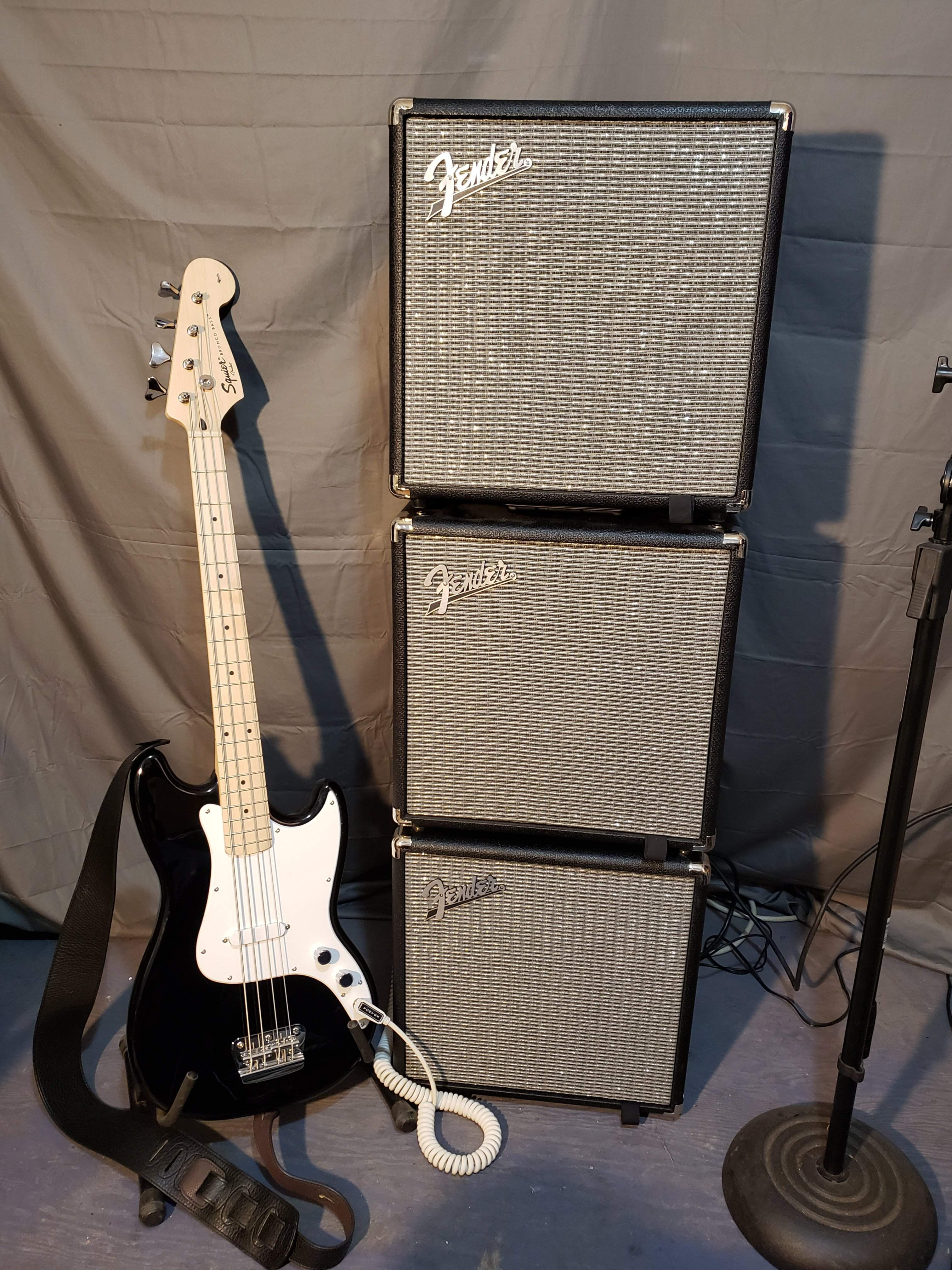 Fender Bronco Bass with Fender Rumble 25 x 3 stack.jpg