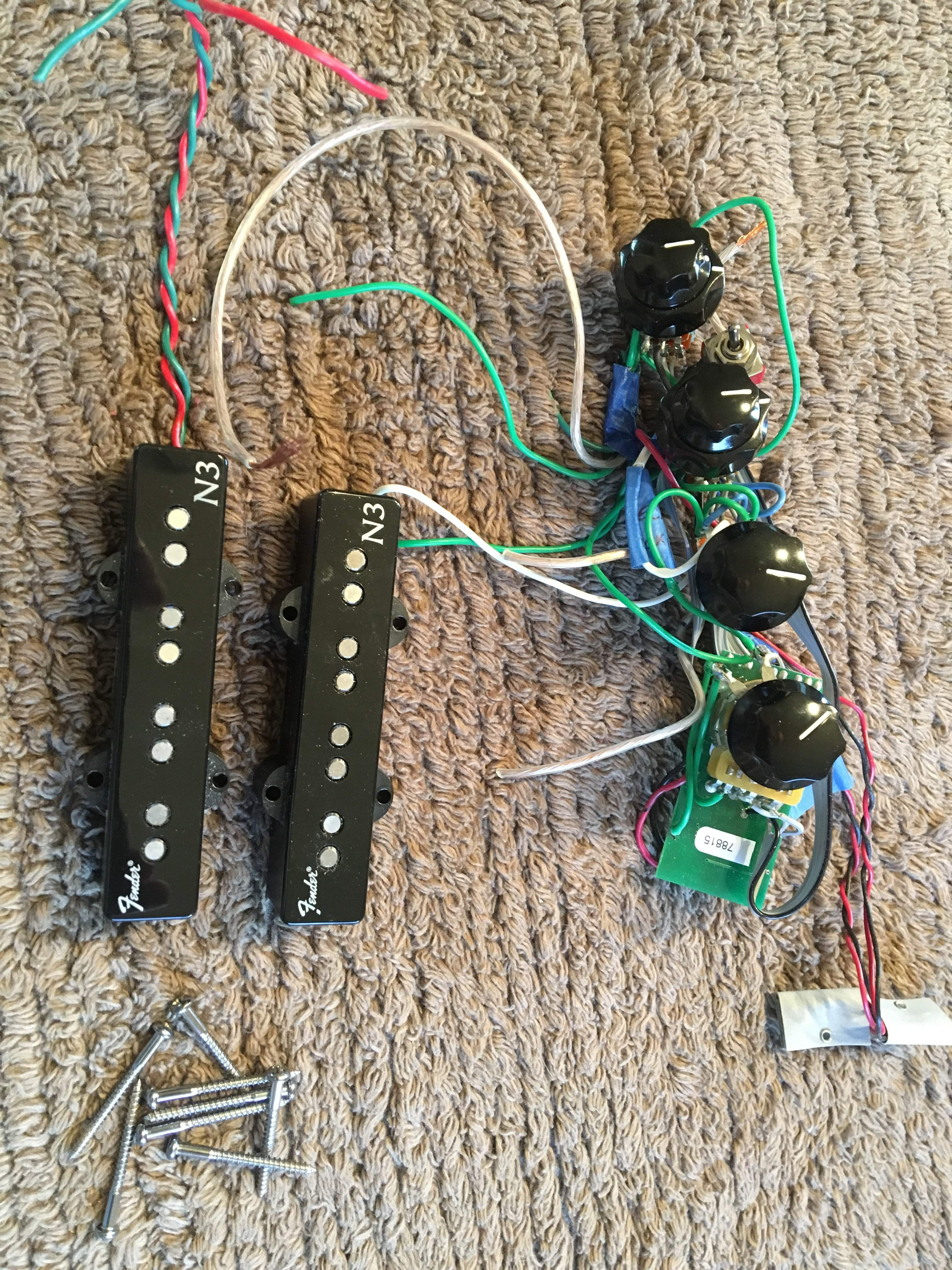 sold fender n3 noiseless pickups and 18 volt preamp pulled from a bad parts bass trade. Black Bedroom Furniture Sets. Home Design Ideas