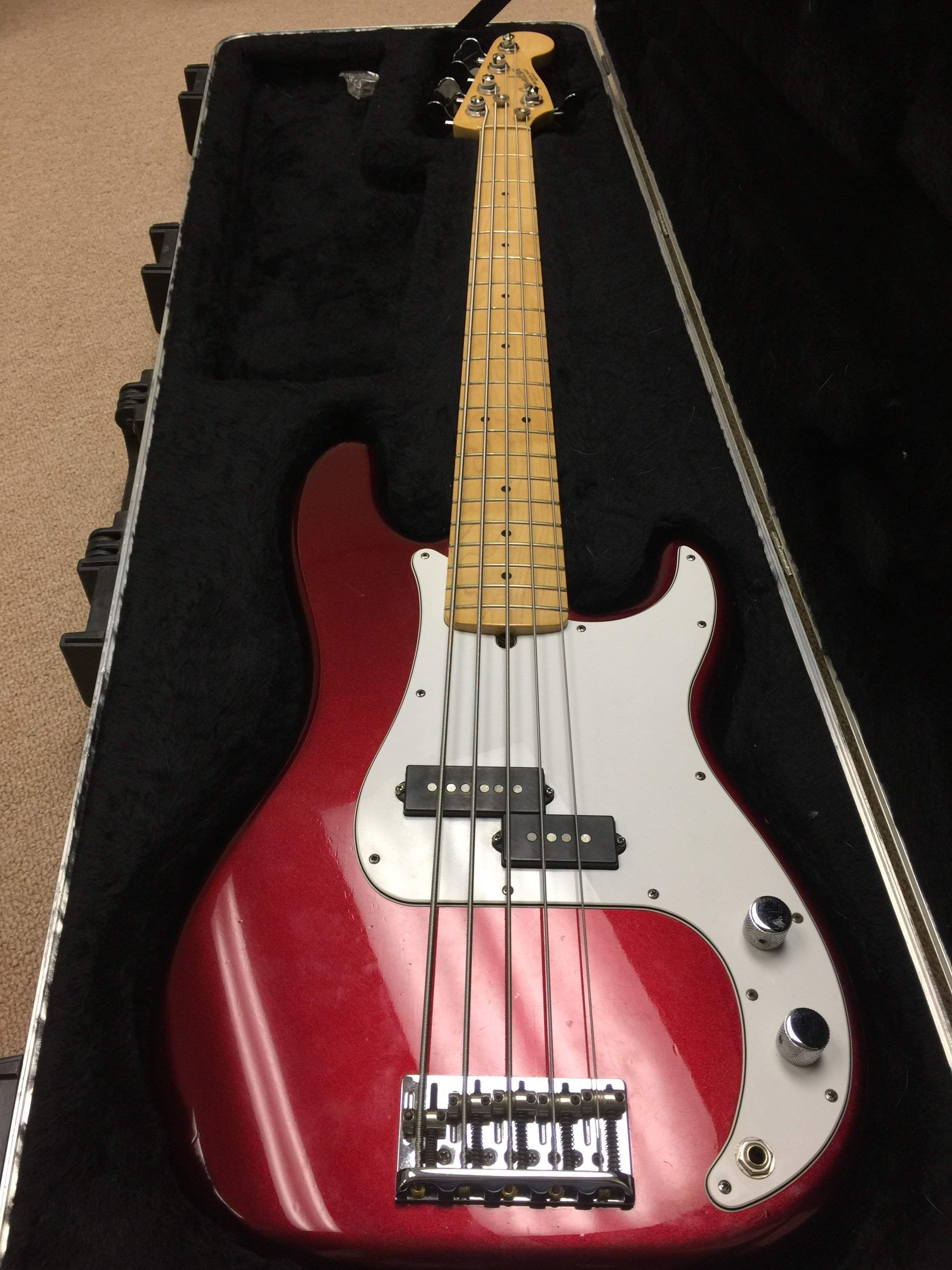 sold 2011 fender american standard precision bass v p5 mystic red. Black Bedroom Furniture Sets. Home Design Ideas