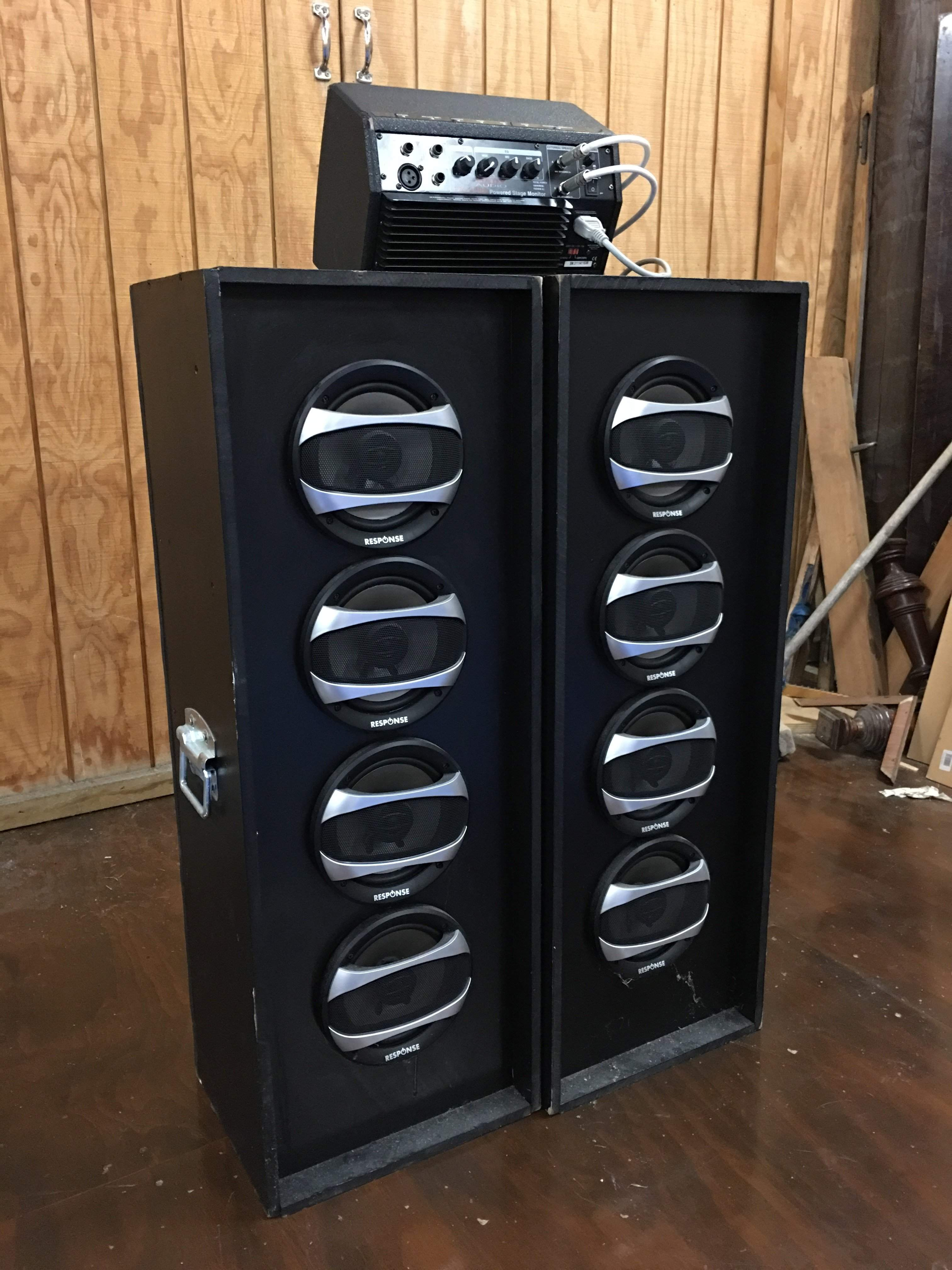 Cheap DIY speaker cabs for upright bass using car speakers
