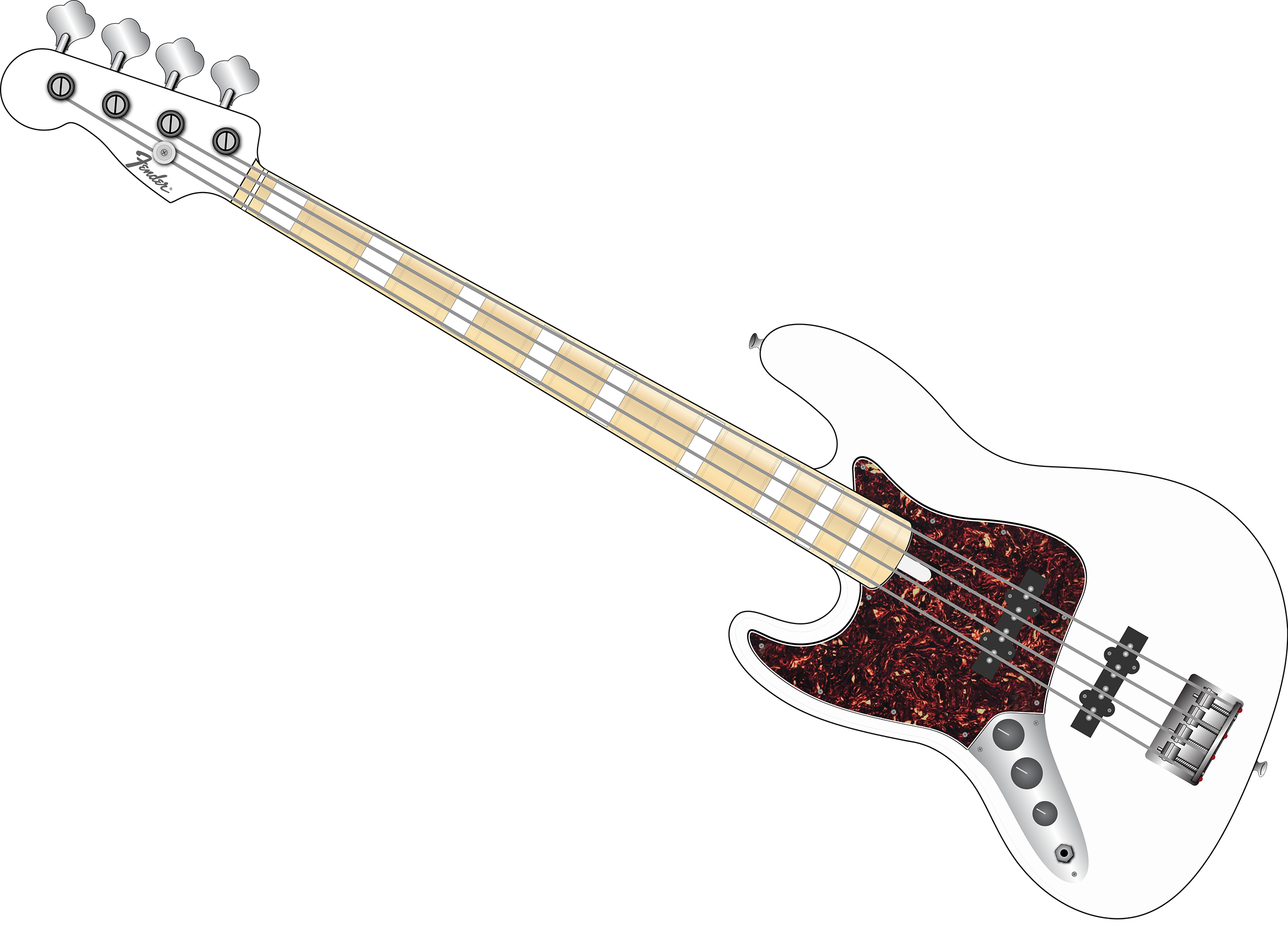 Jazz Bass - White with Tort (for shirt) - 30 Degrees.png