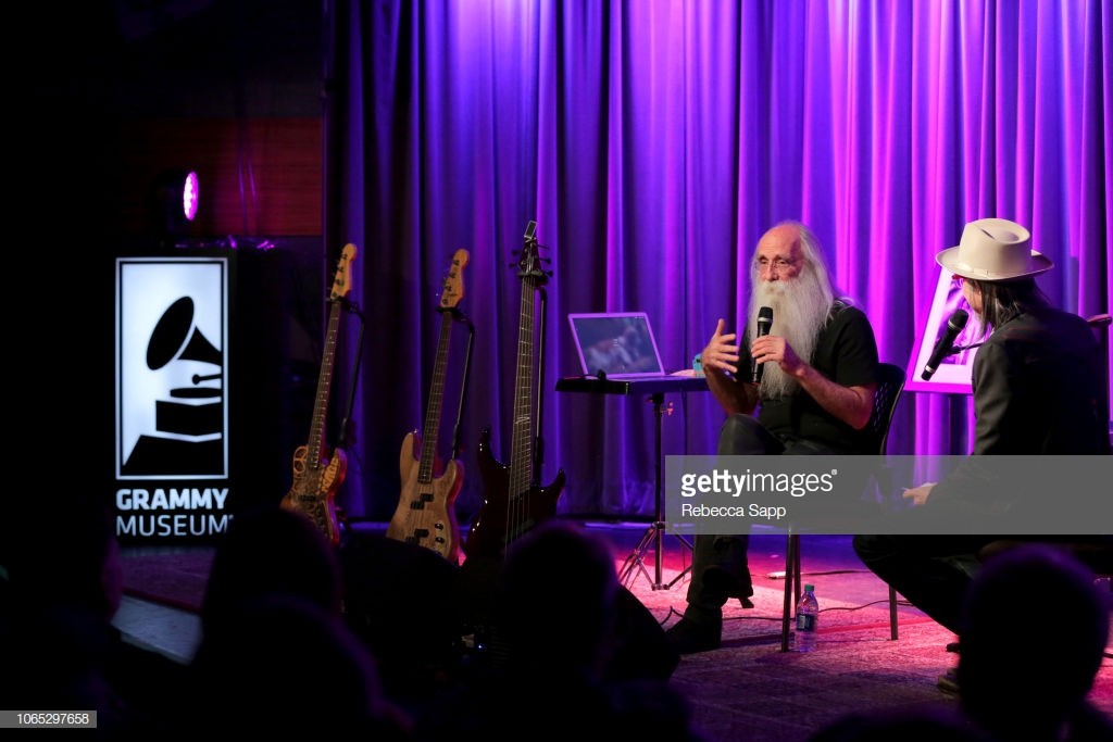 leland-sklar-speaks-with-grammy-museum-artistic-director-scott-at-an-picture-id1065297658.