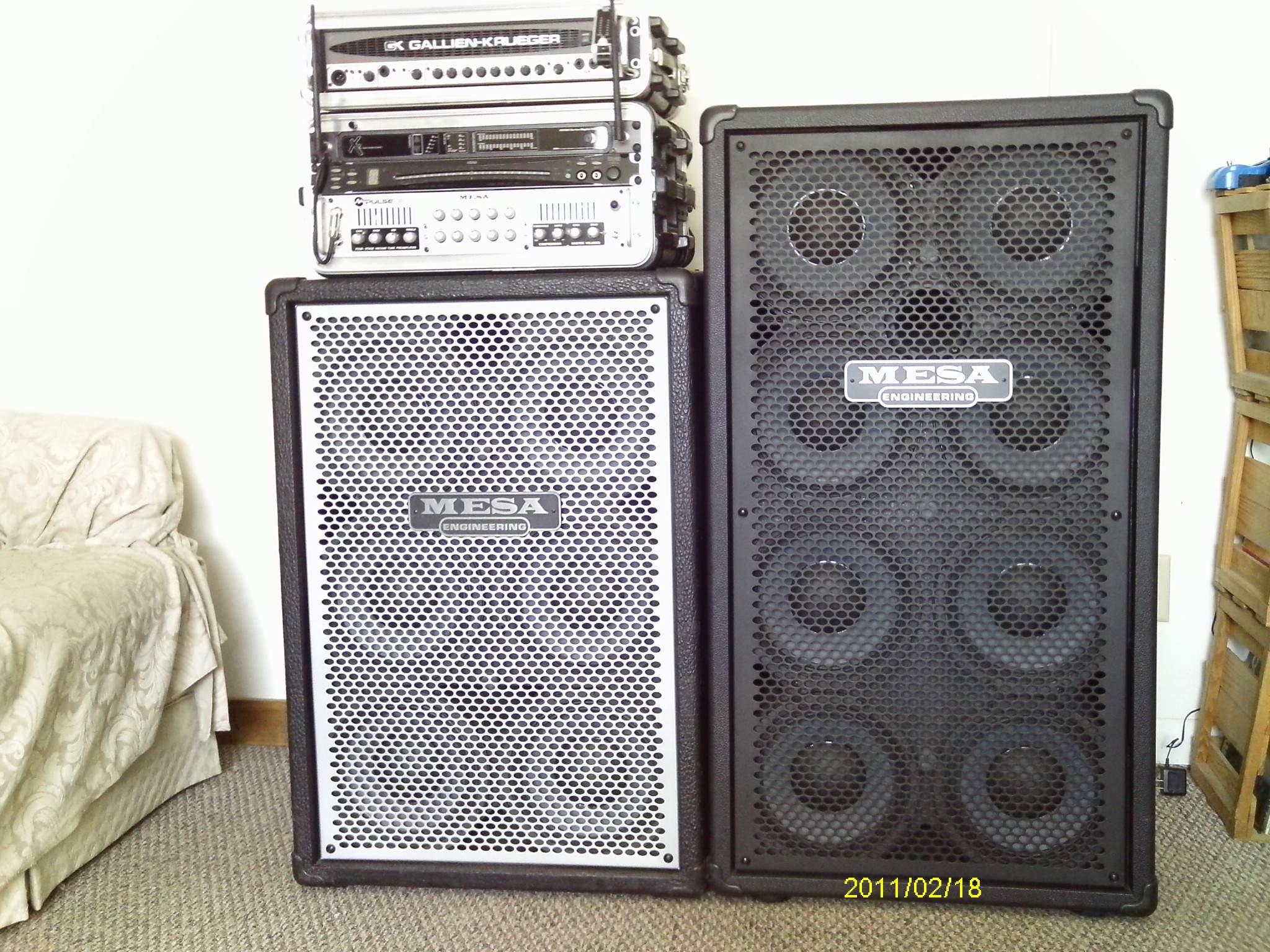 Mesa and G-K amps and cabs.JPG