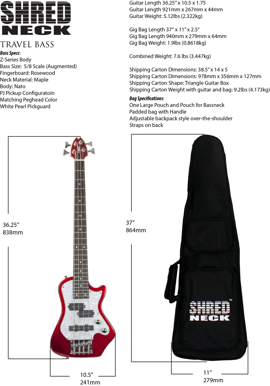 Shredneck-Travel-Bass-Z-Body-Weights-and-Dimensions.
