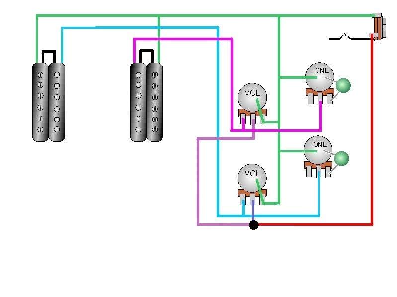 Do any of you know of a wiring diagram for 2 volumes and 2 tones? |  TalkBass.com | Guitar Wiring Diagram 2 Humbucker 2 Tone 2 Volume |  | TalkBass.com