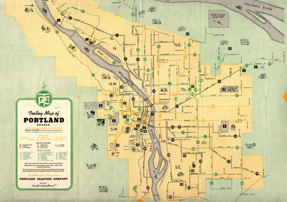 trolley-map-portland-traction-co-1943.