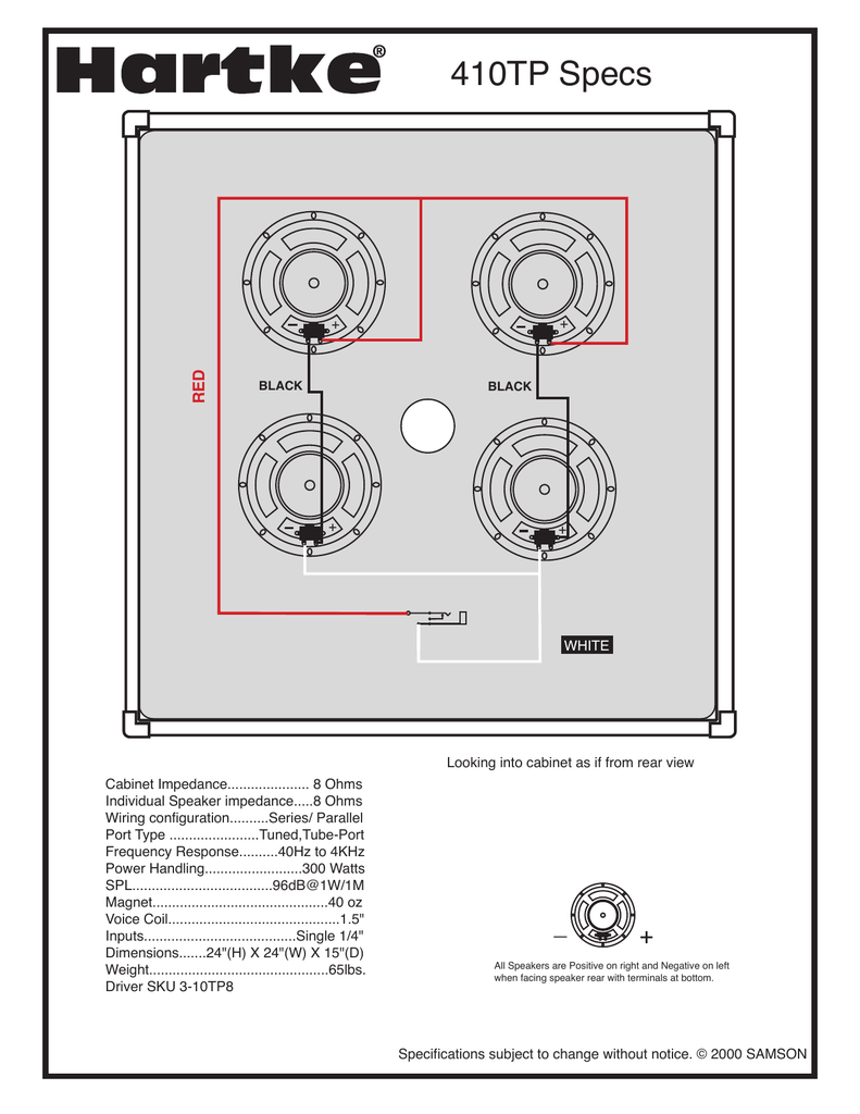 Hartke 410xl speaker wiring | TalkBass.com | Bass Cab Wire Diagrams |  | TalkBass.com